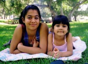 sisters in park
